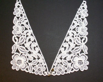 Lace Collar, White Venice Lace Applique Collar Set of 2 Pieces, Lace Collar Applique