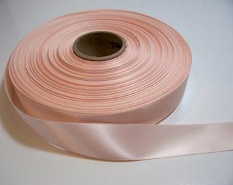 Peach Ribbon, Single-faced light peach satin ribbon 7/8 inch wide x 10 yards, Light Orange Ribbon