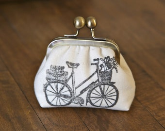 French Bicycle Stamped Coin Pouch