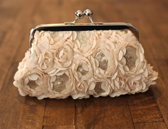 SALE - Rosette Cream Chiffon Sequin Clutch - Was 55.00