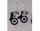 Guitar Pick Earrings Black and White Bullseyes Design Recycled Sterling Silver