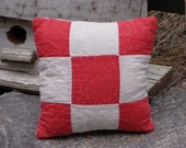 Small Vintage 9 Patch Old Quilt Pillow