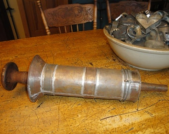 Large Vintage Tin Sausage Stuffer