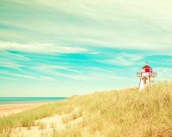 Lighthouse photo, beach art, sea grass, sand dune, nautical decor, aquamarine, blue green, gold, red, atlantic coast, ocean