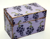 Recipe Box Grapes Purple Green Ready To Ship Fits 4x6 Recipe Cards