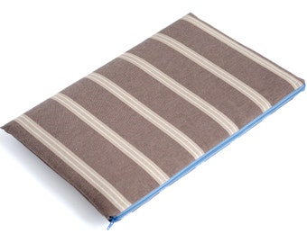 SALE!   MacBook 15 Pro case sleeve cover bag, upholstery fabric Grey Brown Striped