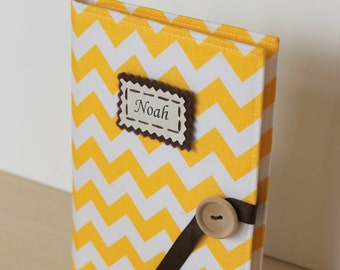 lemon zest yellow chevron personalized photo album brag book multiple color options mothers day