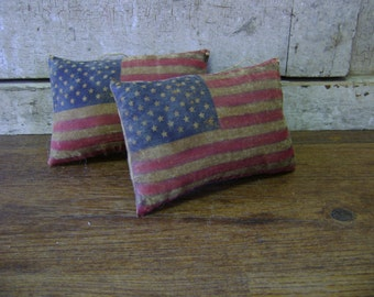 Primitive Americana Summer Little Flag Pillow Hangers Ornaments..WOW