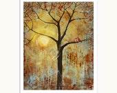 Love Birds Wall Decor Art Print Red Birds 8X10 Tree, Sunny, Rustic, Gritty, Burnt Orange