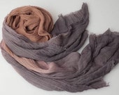 Grey and rust  linen woven scarf dyed with natural plant extracts.