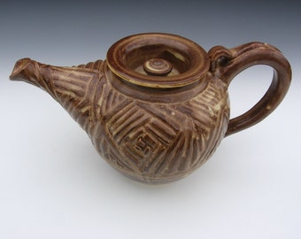 Carved Handthrown Ceramic teapot
