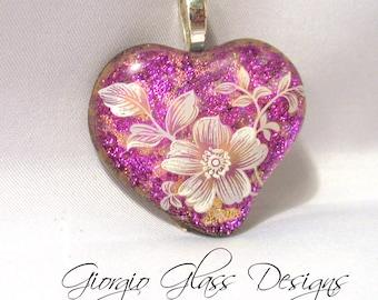 Pink Flower Garden Heart Dichroic Pendant