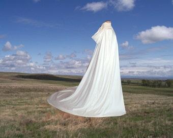 White Hooded Fleece Wedding Cloak Cape Costume Renaissance Medieval