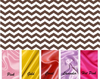 CLEARANCE SALE / Brown Chevron minky print with soft silky satin......Comforting fabrics for baby