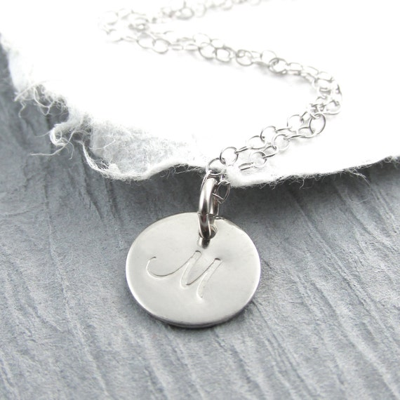14k white gold initial pendant necklace by prolifiquejewelry