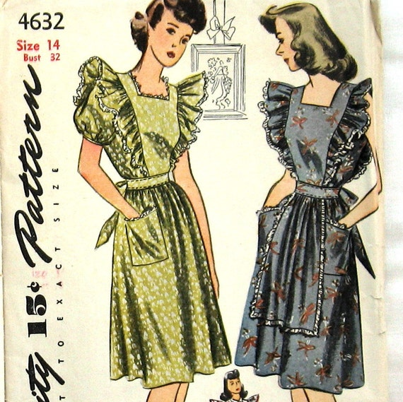 1940s Vintage Womens Apron Dress Pattern Or Pinafore Simplicity 4632 Sz 14