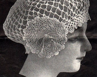 Vintage 1915 Crochet Pattern Cap with Medallion PDF Instant Download