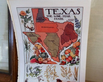 vintage map-  The Lone Star State: Texas - 1912 Map