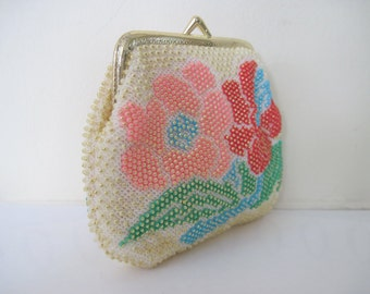 vintage Beaded Kisslock Cosmetic Pouch - Large Pink and Red Flowers - 1970s Floral Clutch