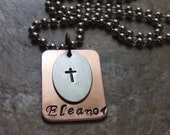 Cross Necklace - Personalized Silver and Copper Handstamped Necklace - Name Necklace - First Communion Confirmation Baptism Gift