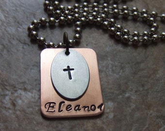 Cross Necklace, Name Necklace, Handstamped Necklace, Personalized Cross Necklace, First Communion Gift, Confirmation Gift, Baptism Gift