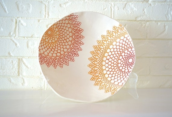 Large Fiesta Bowl, handmade orange coral