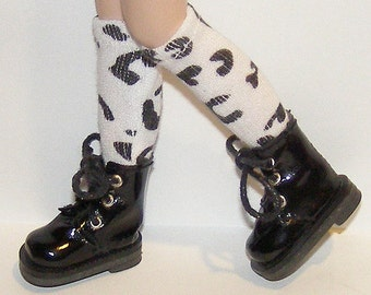 Tall Black And White Leopard Print Socks For Blythe...One Pair Per Listing...