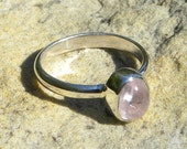 Simple little sterling ring with blush pink kunzite cabochon