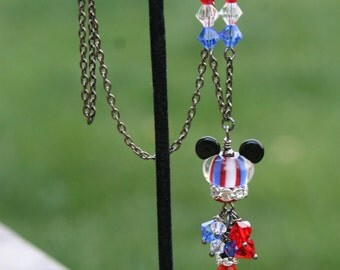 American USA Mickey and Minnie SRA Lampwork DeSIGNeR Patriotic Necklace Pendant Gunmetal Crystals Disney Magic Kingdom