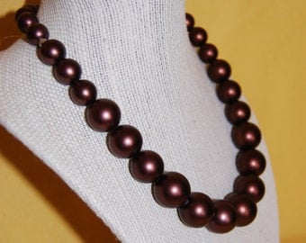 Chocolate Brown Glass Pearl Bead Necklace