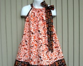 Orange and Black skulls and bats Halloween Pillowcase dress, Sizes 3M  up to 6 years