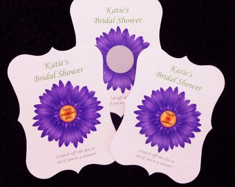 Personalized Scratch Off Cards, Bridal Shower purple gerbera daisy, set of 50