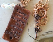 "Mothers Day Copper necklace Hand Stamped Personalized ""Thank you for raising the Woman of my dreams"""