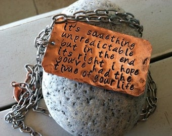 necklace hand hammered copper personalized message Choose your OWN words