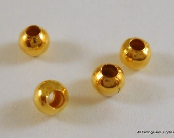 225 Gold Spacer Beads 3mm Plated Round Iron Bead - 225 pc - M7013-G225