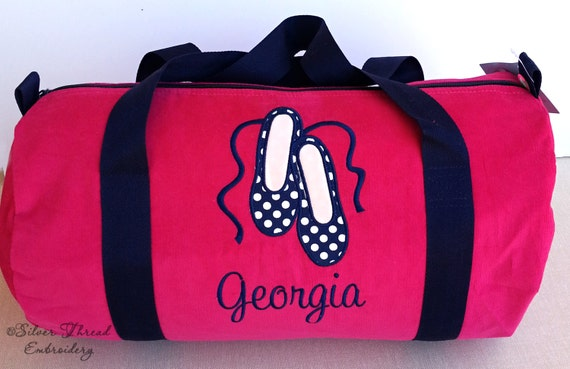 personalized ballet duffle bag hot pink corduroy dance