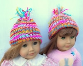 Crochet Doll Hat Full of Colors Hat Fits 18 inch doll or American Girl Doll