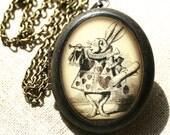 Oval White Rabbit Locket, Alice Locket, Alice in Wonderland, White Rabbit Jewelry, Alice Jewelry, Alice Necklace, White Rabbit Necklace