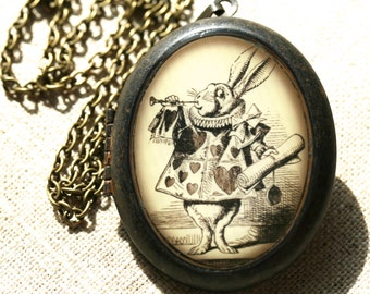 Oval White Rabbit Locket, Alice Locket, Alice in Wonderland, White Rabbit Jewelry, Alice Jewelry, Alice Necklace, White Rabbit Necklace