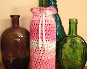 Crochet Multiple Pink and White Cotton Wine Cozy