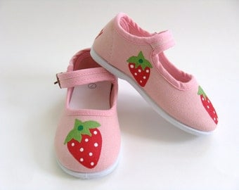 Girl's Strawberry Shoes, Pink Mary Janes, Strawberry Birthday Party Outfit, Hand Painted For Baby and Toddlers