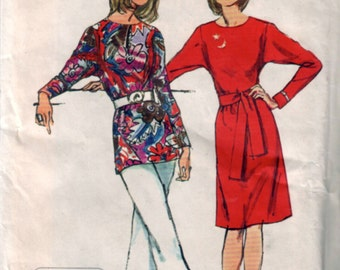 simplicity 9983, vintage 70s women's jiffy dress and tunic pattern UNCUT, size 12, bust 34 FREE SHIPPING to canada and usa