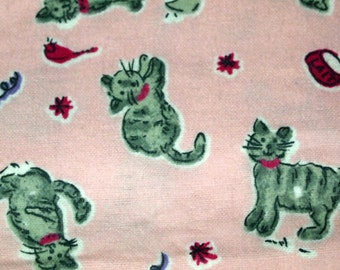 vintage 80s novelty print fabric, featuring cute cats design, 1 yard, 16 inches