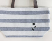 Black Rose Embroidery Small Tote