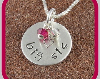 Sorority Big Sis Necklace, Sterling Silver Big Sis Pendant with Sorority Colors of your Choice