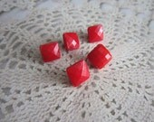 Red Square Glass Buttons - 5 Vintage faceted Diminutive Squares - 5mm