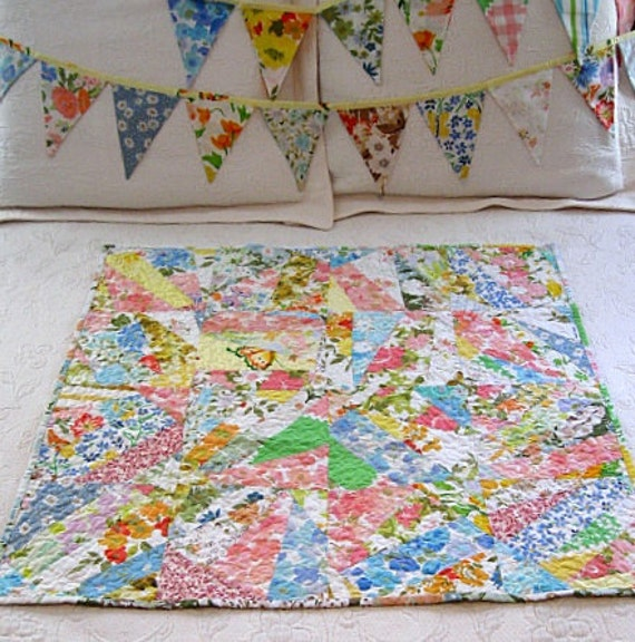 30% off SALE - farmhouse baby quilt, lap quilt, bunting set - echo home goods quilt no. 28 and bunting set  - Ready to Ship