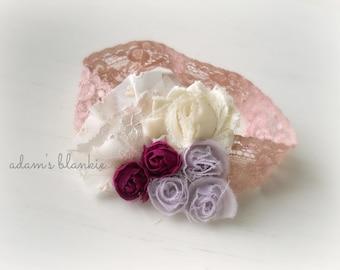 Champs de Fleur - Lavender Purple Cream Floral Rosette Lace Headband - Ruffles - Girls Newborns Baby Infant Adults