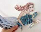DIY Sea Turtle & Mermaid Printable PDF Card Paper Puppet Set for Pen Pals, Kids, Summer, Paper Crafts, Play