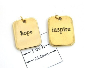 Gold Plated 20mm x 25mm INSPIRE and HOPE Words Pendants Set, 1041-57